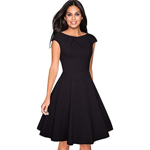 CHIC DIARY 1950er Retro Cocktailkleid Damen A Linien Kleid runder Kragen Rockabilly Elegant Abendkleid Schwarz, Schwarz, L
