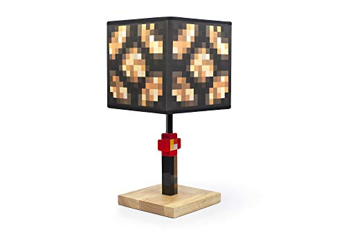 Minecraft Glowstone 14 Inch Corded Desk LED Night Light - Decorative, Fun, Safe & Awesome Bedside Mood Lamp Toy for Baby, Boys, Teen, Adults & Gamers - Best for Home's Bedroom, Living Room Or Office