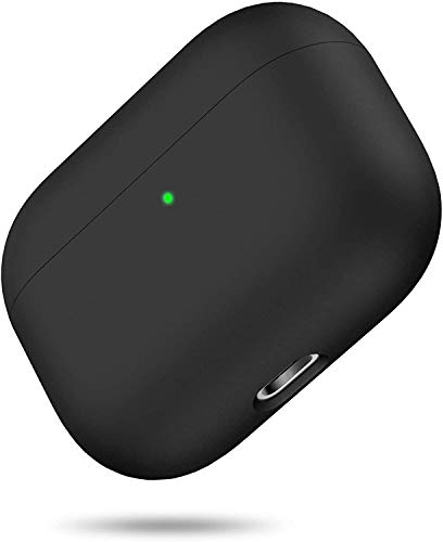 miracase MOVING LIFE Funda para Airpods Pro, Silicona líquida de Triple Capa, LED Visible y Funda rígida de Silicona a Prueba de Golpes (Negro)