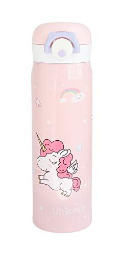 Emartbuy 500 ml Unicornio Apertura Fliptop Spring Prueba de Fugas Acero Inoxidable Vacío Aislado Frio y Calor Botella de Agua Matraz Termo Niños Linda Cool - Rosado