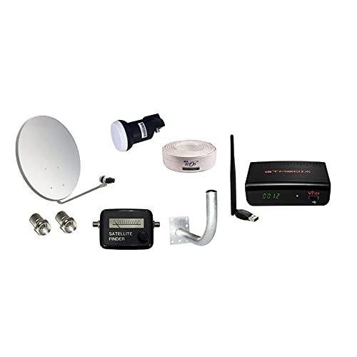 Kit Completo Antena parabólica 60cm + Receptor satélite GTMedia V7S2x HD + LNB + 20m de Cable coaxial + Soporte para Antena + Localizador satélite + Conectores F