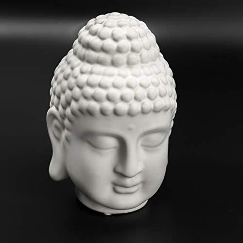 Bay Heights Porcelain Buddha Head Figure Figurine Statue Sculpture Zen Oriental Ancient Retro Buddhism God Decoration (6'' Tall)