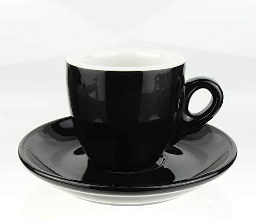 Moka Consorten | Extra dickwandige Espressotassen | 0,8 cm Wandstärke | Farbe: schwarz | 6 Tassen + 6 Untertassen