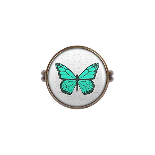 Mylery Ring mit Motiv Schmetterling Opal Türkis bronze 16mm