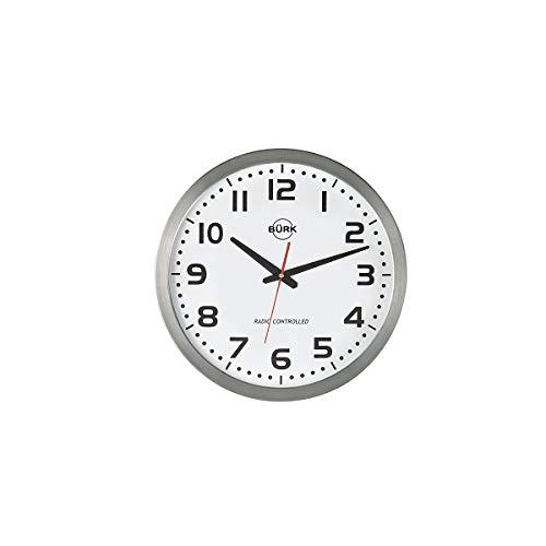 Quarz-Wanduhr, Durchm. 400 mm, Edelstahlgehäuse, Z iffernblatt weiá, arabische Zahlen, inkl. Batterie