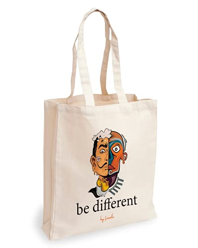Loxato Bolsa Tela Tote Bag Tela Bolsos Bandolera Mujer Bolsas de Algodón Natural 100% Bolsas Reutilizables Extra Ancho 8cm Asas Largas 70cm 220 gr/m2 Bolsas de Tela Bonitas Bolsas de Tela Grande