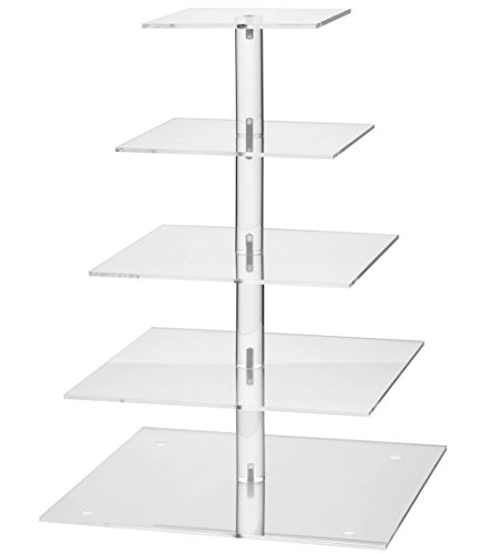 YestBuy 5 Tier Square Wedding Party Acrylic Cake Cupcake Tree Tower Maypole Display Stand 1 pc/Pack