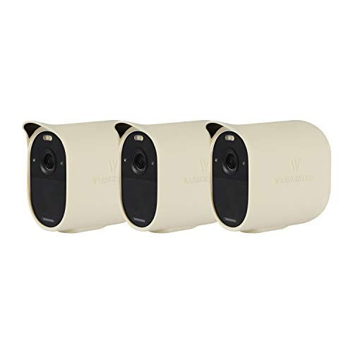 Wasserstein Protective Silicone Skins Compatible with Arlo Essential Spotlight - Accessorize and Protect Your Arlo Camera (Beige, 3 Pack) (NOT Compatible with Arlo Ultra, Pro, Pro 2/3, HD, Floodlight)