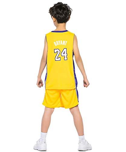 ShangSRS Kinder NBA Basketball Trikots Set - Rocket Harden#13 Lakers Bryant#24 Celtics Ivring#11 Basketball-Shirt Weste Top Sommershorts für Jungen und Mädchen (Bryant24(Gelb), XXS)
