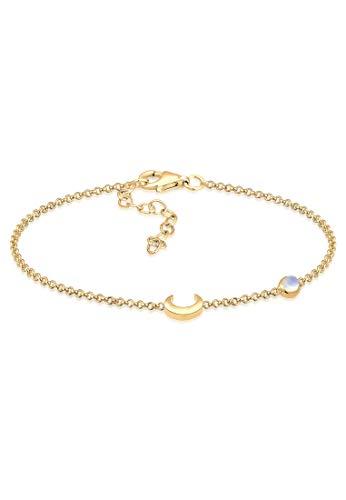 Elli Armband Damen Halbmond Astro Trend Filigran Mondstein 925 Sterling Silber vergoldet