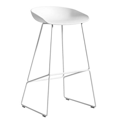 HAY About a Stool AAS 38 Barhocker hoch Gestell weiß, weiß Sitzschale Polypropylen Gestell Stahl pulverbeschichtet weiß mit Kunststoffgleitern