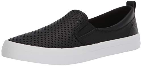 Sperry Women's Crest Twin Gore Scalloped Perf Sneaker, Black, 9 M US