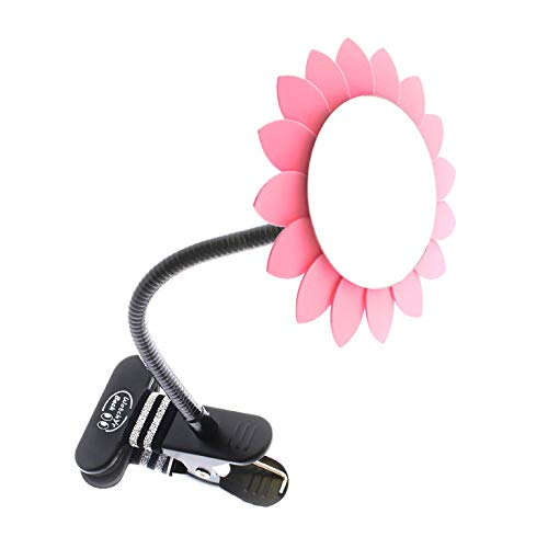 Clip-On Convex Mirror Pink Sun Flower Decoration for Desk and Cubicle to See Behind You. Wide Angle View Clear Reflection. Real Glass Round Mirror