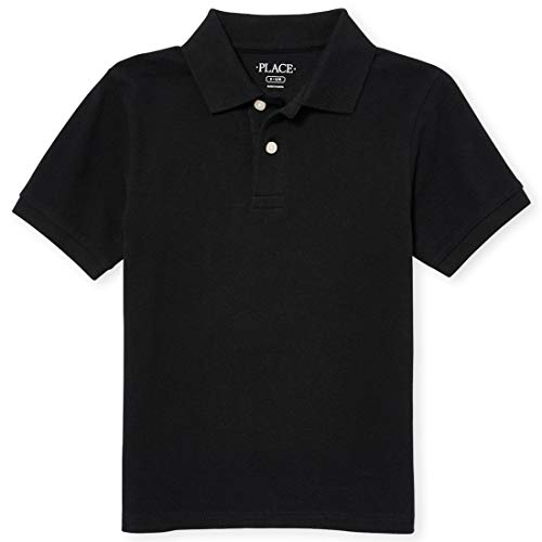 The Children's Place Baby Boys' Toddler Short Sleeve Uniform Polo, Black 0049, 5T