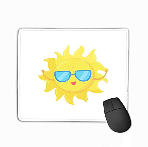 Gaming Mouse Pad Oblong geformte Maus Matte Cartoon Charakter Gelbe Sonne Sonnenbrille Lustiges Wetter Himmel Element Flaches Design Mobile App Print Aufkleber