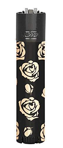 HIBRON Clipper 1 Encendedor Mechero Clásico Largo Metal Black & Rose Negro y Rosa Y 1 Llavero Gratis
