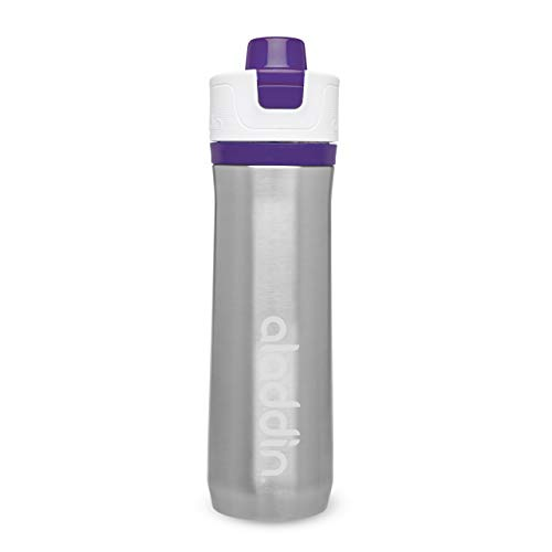 Aladdin Active Hydration Thermavac Stainless Steel Water Bottle 0.6L Lila – Mehrwegwasserflasche - Auslaufsicher - Doppelwandige Vakuumisolierung - Hält 10 Stunden Kalt - BPA-Frei - Spülmaschinenfest
