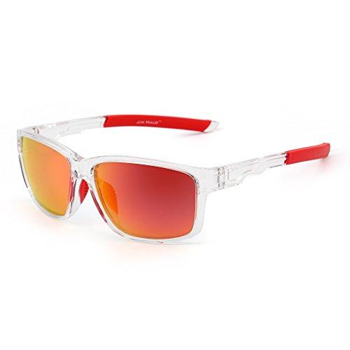 JIM HALO Polarizadas Deporte Gafas de Sol Espejo Envolver Alrededor Conducir Pescar Hombre Mujer(Transparente/Rojo)