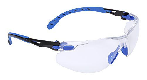 3M Safety Glasses, Solus 1000 Series, 1 Pair, ANSI Z87, Scotchgard Anti-Fog Clear Lens, Low Profile Blue/Black Frame, Reliable Clearer Sight Longer for Wet and Steamy Areas