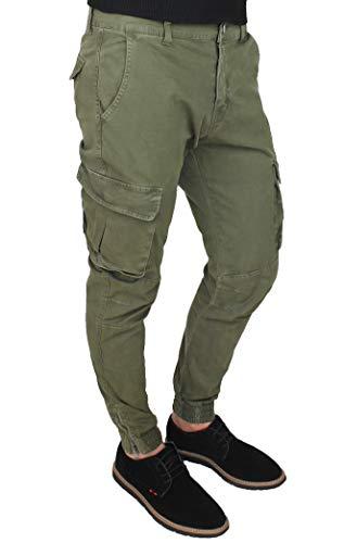 Evoga Pantaloni Uomo Cargo Verde Militare Slim Fit Jeans con tasconi Laterali (44, Verde)