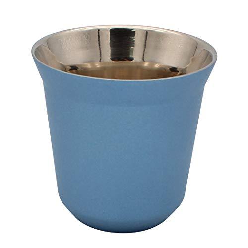 Dianoo Kaffeetasse Espressotassen Aus Edelstahl Doppelwandig Thermisch Isoliert Kapsel Kaffeebecher Blau