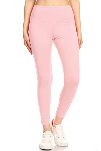 SOLMI Premium Activewear Yoga Leggings with Hidden Pocket in Waistband (SYL6, Pink Nectar, Large)