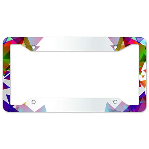 Bohohobo Triangle Pattern-Mirror License Plate Frame 4 Pieces Design License Plate Frame With 4Holes Fite For Man Cave white 16x31cm