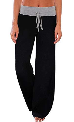 AMiERY Womens Pajamas High Waisted Pants Juniors Sleep Stretch Solid Pants Wide Leg Pants Jogger Palazzo Lounge Pants Black M