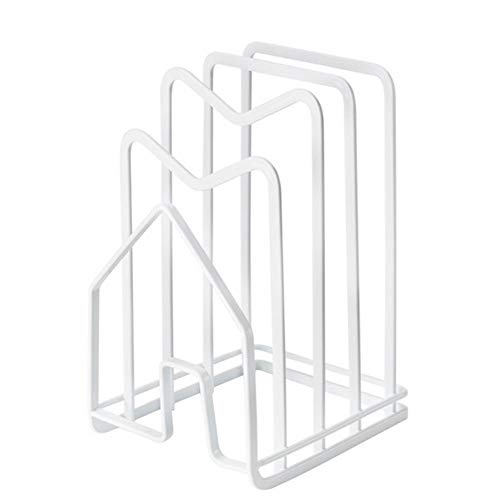 Adjustable Pot Rack Cutting Board Rack Metal Baking Tray Rack Kitchen Pot Cover and Cookware Storage Rack for Kitchen Organization and Storage (White)