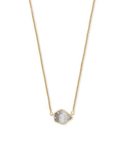 Kendra Scott Tess Small Pendant Necklace for Women, Dainty Fashion Jewelry, 14k Gold-Plated, Slate Cats Eye