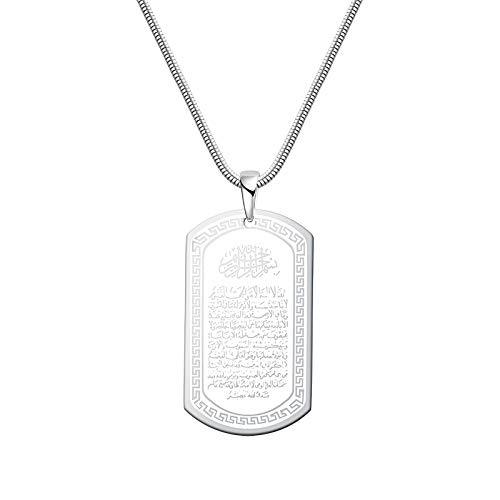 Boomly Herren Islam Anhänger Halskette mit Kette Unterrichten der Militärkarte Titan Stahl Arabisch Muslim Allah Religion Totem Schmuck Zubehör (Silber)