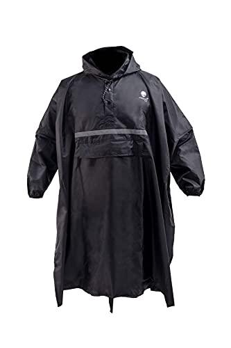 saewelo Regenponcho mit Ärmeln, 3 Taschen und Reflektoren für Erwachsene (Unisex), 10.000 mm Wassersäule, Atmungsaktiv (Anthrazit)
