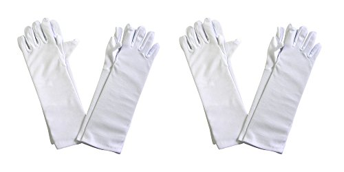 Butterfly Twinkles Girls Tea Party Stretch Polyester Long Dress Gloves Set of 4 White Childrens