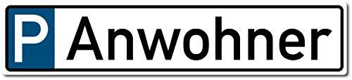 Parkplatzschild Anwohner KFZ-Kennzeichen Nummernschild 52 x 11 cm (Originalmaß) (wetterfest)
