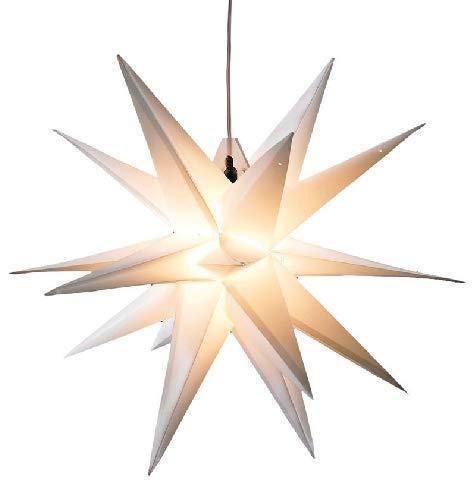 Kunststoffstern Weiß, für Außen inkl. LED-Elektrik mit 6-Stunden-Timer, IP44 Trafo, Kabellänge ca. 7m (Leuchtmittel nicht auswechselbar) Ø 100cm NEU