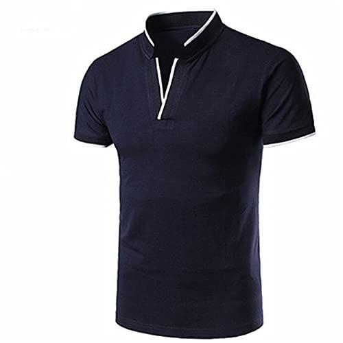 Shirt Ocio Hombre Manga Corta Ajustada Cuello En V Cuello Hombre T-Shirt Verano Empalme Básico Contraste De Color Hombre Shirt Clásico Moderno Hombre Polo