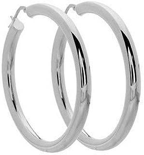 Italian Sterling Silver Large Hoop Earrings 45mm x 45mm