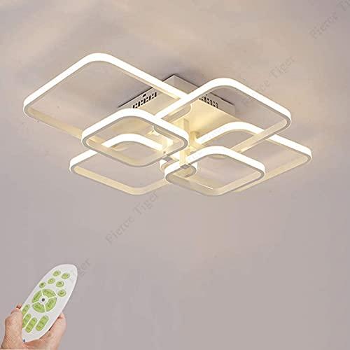 FDGSD Lámpara LED para Sala de Estar Luz de Techo Regulable Lámpara de Techo de Dormitorio Lámpara de Techo de diseño Cuadrado Blanco de Metal acrílico Luz de Techo led con Control