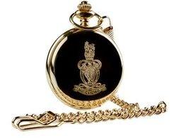 QRH CRESTED Taschenuhr 24Karat Gold beschichtet Armee Armbanduhr Luxus Geschenk in Fall Queens Royal Hussars