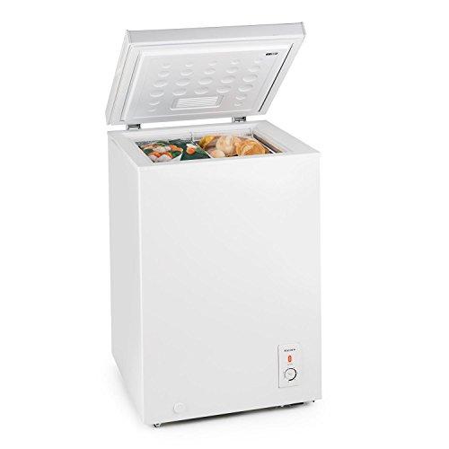 Klarstein Iceblokk 100-4-Sterne Gefrierschrank, Gefriertruhe, Tiefkühltruhe, 100 Liter, herausnehmbarer Hängekorb, freistehend, Bodenrollen, weiß