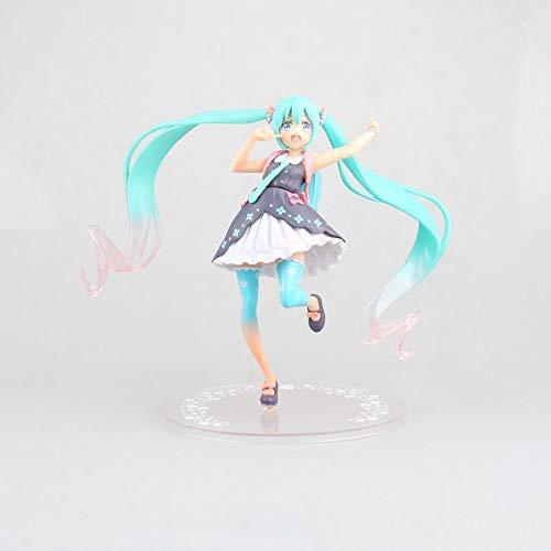 ZDYHBFE Hatsune Miku Anime Frühlingskleidung Ver Hatsune Frühlingskleidung Rucksack Puppe Hochwertige Version Statue Puppe Skulptur Spielzeug Dekoration Modell Höhe 17cm