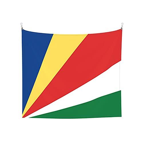 Wandbehang mit Seychellen-Flagge, Boho, beliebt, mystisch, Trippy Yoga, Hippie, Wandteppiche für Wohnzimmer, Schlafzimmer, Schlafsaal, Heimdekoration, Schwarz & Weiß Stranddecke