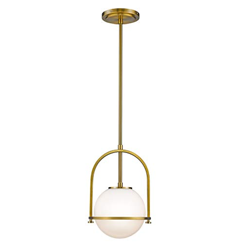 Modern Globe Pendant Lights, LMS 1-Light Hanging Light Fixture, Brushed Brass Finished with White Globe Glass Lampshade, LMS-013