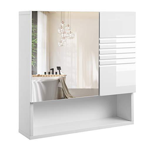 VASAGLE Spiegelkast voor badkamer, wandkast, badkamerkast met in hoogte verstelbare planken, zacht sluitende scharnieren, badkamer, 54 x 15 x 55 cm, wit BBK21WT