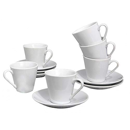 HOGAR Y MAS Juego de Café Barista Classic de Porcelana Blanca. Tazas Café Clásicas. - Set de 6