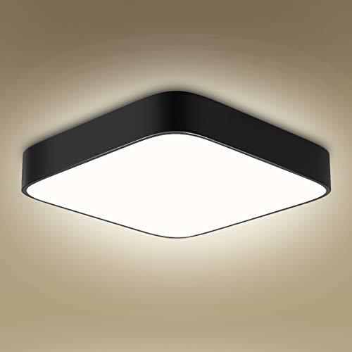 Plafonnier LED 24W, 1800lumen 4000K blanc naturel, 220V 16LEDs, plafonnier led utilitaire carré noir pour salle de bain salon garage couloir armoire sous-sol bureau descalier