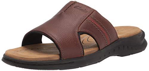 Clarks Men's Hapsford Slide Sandal, Brown Tumbled Leather, 13