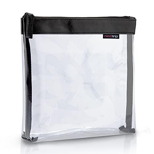 nex|trip Kulturbeutel Transparent für Flüssigkeiten Handgepäck - Kosmetiktasche durchsichtig für Flugzeug - Reiseset Kosmetik Beutel (Schwarz - Einzeltasche)