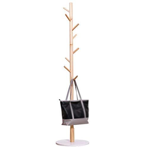 NEHARO Abrigo Soporte de Rack Percha de Madera sólida Piso Dormitorio Simple Percha Oficina Sala de la suspensión del hogar Perchero Fácil de Acceder (Color : Wood Color, Size : 169x39cm)