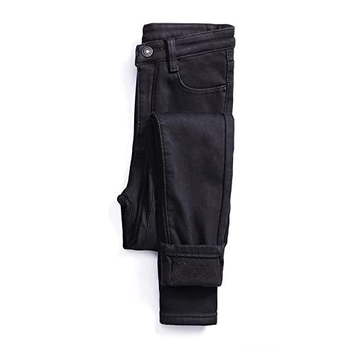 Pantalones vaqueros cálidos de invierno para mujer, con forro polar, cintura alta, ajustados, cálidos, elásticos (A,26)